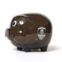 TRANSPARENT PIGGY BANK         BLACK WITH CLUB CREST