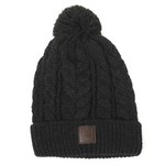 CABLE KNIT POM POM HAT         WITH EMBOSSED CREST BADGE