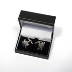 SHINY METAL CUFFLINKS          CUT OUT BIRDS ON BALL