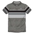 HALF STRIPED POLO SHIRT        TONAL BADGE