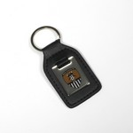 LEATHER/ENAMEL KEY FOB         OBLONG WITH CREST