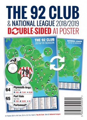 THE 92 CLUBS A1 POSTER         MAP YOUR AWAY TRAVEL