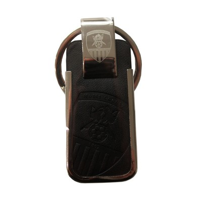 LEATHER EXECUTIVE KEYRING      WITH CLUB CREST
