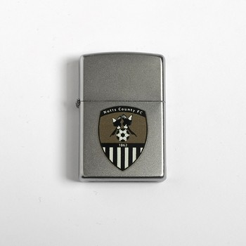 ZIPPO SATIN CHROME LIGHTER     WITH NCFC BADGE