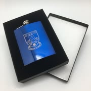 Blue hipflask and case